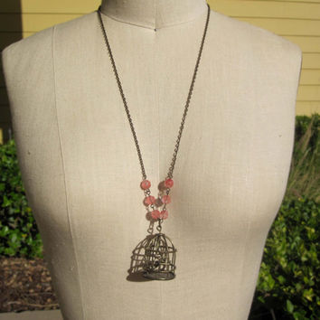 One of a Kind Antique Brass Birdcage Necklace with Tiny Birds Inside and Vintage Beads - Handmade - Custom - Bohemian - Boho