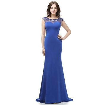 Chiffon Cap Sleeve Scoop Beading Evening Dresses Mermaid Floor Length Open Back Evening Dress