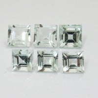 6 Aquamarine Princess Square cut 7mm 8mm Gemstones 11.85 Very Light blue March Birthstone