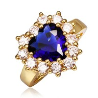 18K Yellow Gold Plated Princess Wedding Inspired Sapphire Blue Cubic Zirconia Heart Shaped Cocktail Ring