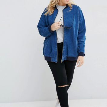ASOS CURVE Oversized Denim Bomber Jacket