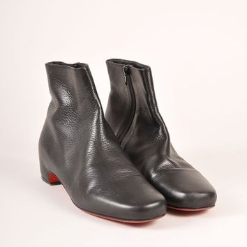 CREYU2C Black Leather Low Heel Ankle Boots