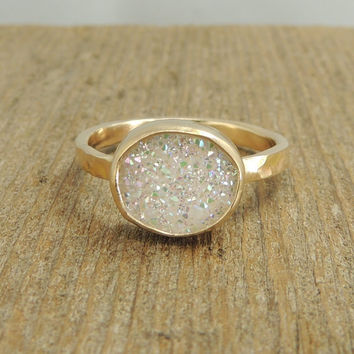 Rough Druzy 14k Gold Ring, Raw, Uncut, White Druzy Ring, Quartz Druzy, Handmade Engagement Ring
