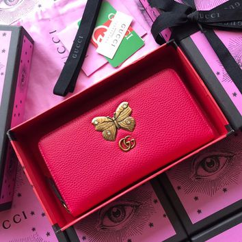 Gucci Leather zip around wallet with butterfly