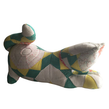 Vintage Quilted Cat Pillow / Quilted Door Stop / Stuffed Cat / Cottage Chic Decor / Shabby Chic Decor