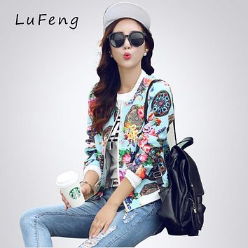 Women Spring Floral Basic Coats Women Print Bomber Jacket 2017 Spring Autumn Long Sleeve Casual Casacos Harajuku Kaban M387