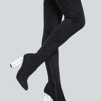 Clear Heel Suede Thigh Highs BLACK