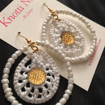 White and Gold Beaded and Crocheted Hoop Earrings