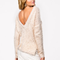Open-Back Slit Fleece Fur Longsleeve Top