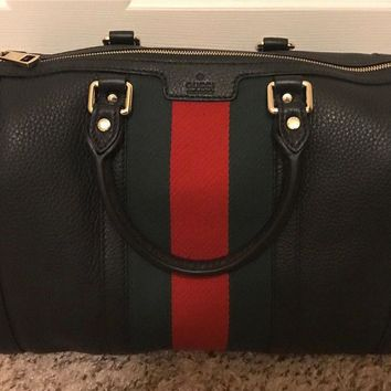 Authentic-Gucci-Vintage-Web-Boston-Black-Bag-Classic-EUC