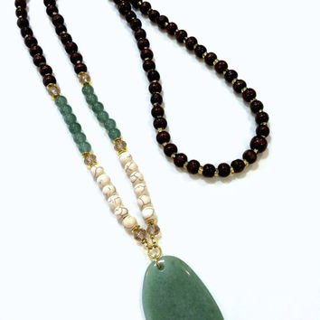 Dark Wood Bead Necklace, Green Pendant Necklace, White Bead Necklace, Green Bead Wood Necklace