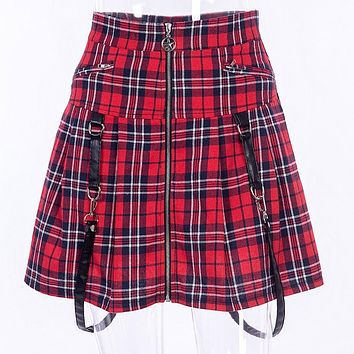 Red Plaid Harajuku Punk Rock Gothic Skirt Women High Waist Strap Zipper Stitching Summer Pleated Mini Skirt For Girls