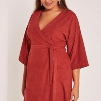 Missguided - Red Plus Size Faux Suede Kimono Dress