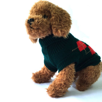 Green Argyle Dog Sweater