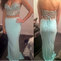 Sweetheart Prom Dresses,Two Piece Prom Dress,Evening Dresses