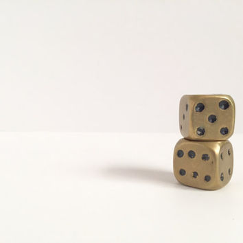 SALE!! 35% off 1950's Vintage Large Oversized Brass Dice mid-century paperweight mens retro gift Hipster office decor