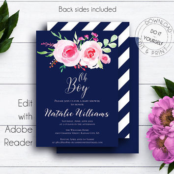 Navy Blue Oh Boy Baby Shower, Baby Boy Silver Glitter, Boy Baby Shower Invite, PDF Templates, Navy Blue Shower, Roses, DIY Shower Template