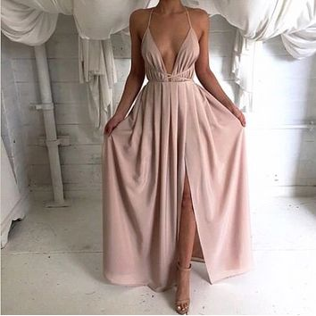 Sexy deep v-neck sleeveless dresses