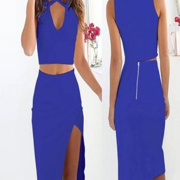 Blue Cut Out Two Piece V-neck Side Slit Prom Evening Party Midi Dress