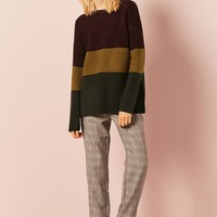 Colorblocked Ribbed Knit Sweater