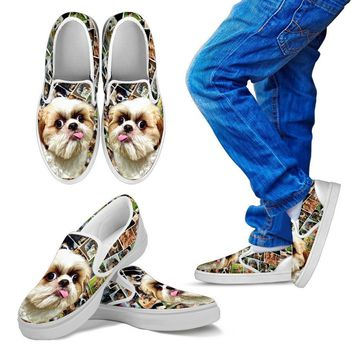 Amazing Shih Tzu Dog Print Slip Ons For Kids-Express Shipping