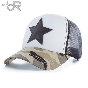 Men's Summer Fashion 3D Five-pointed Star Embroidery Mesh Baseball Cap Snapback Camo