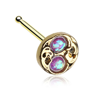 Golden Color Tao Filigree Opalescent Sparkle Nose Stud Ring - 20 G - Sold as a Pair