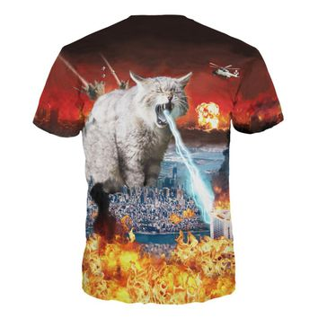 Fire Cat All Over Print T-Shirts - Ladies Crew Neck Novelty Top Tees