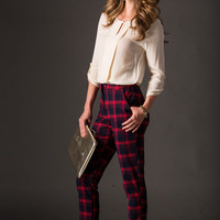 Jessica Red Plaid Pants