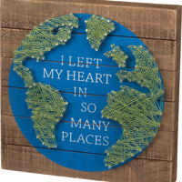 I Left My Heart In So Many Places- Global Themed String Art Plank Board Box Sign - 12-in