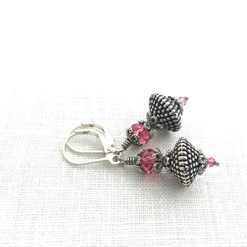 Silver Leverback Earrings, Pink Crystal, Lightweight Silver Dangle, Womens Fashion Jewelry, 602