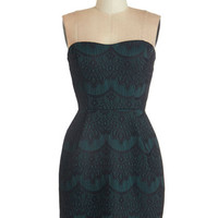 ModCloth Mid-length Strapless Sheath Together For Evergreen Dress in Pine