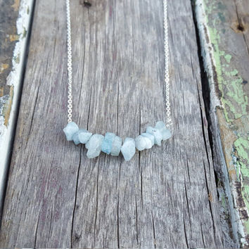 Dainty Aquamarine Stone Bar Necklace | Sterling Silver Bar | Boho Chic | March Birthstone | Layered Gemstone Necklace | Crystal Bar Jewelry