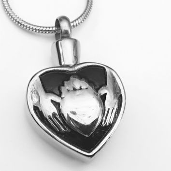 Claddagh Cremation Urn, Cremation Heart Necklace, Celtic Urn, Claddagh Locket, Ashes Holder, Memory Locket, Cremation Jewelry