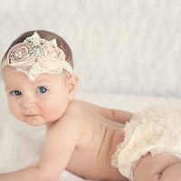 Ivory & Champagne Diaper Cover & Headband | zulily