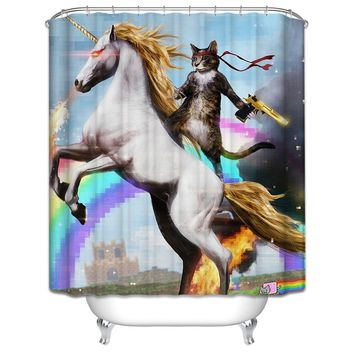 Cat Holding Gun with Horse Bathroom Unique Cool Cloth Fabric Long Shower Curtains