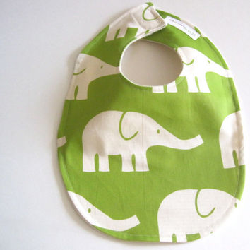 Organic BABY BIB -  Modern Green and White Elephants - Baby Boys Food and Teething Bib