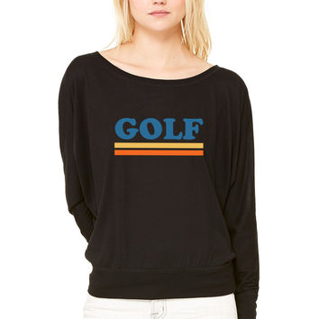 golf WOMEN'S FLOWY LONG SLEEVE OFF SHOULDER TEE