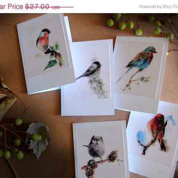 Holiday Sale Bird Greeting Cards, Watercolor Painting Print of Birds, Set of 5 Blank Cards, Note Cards, All Purpose Cards