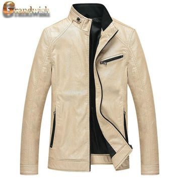 Men's Fit Motorcycle Coat PU Leather Jacket for Autumn