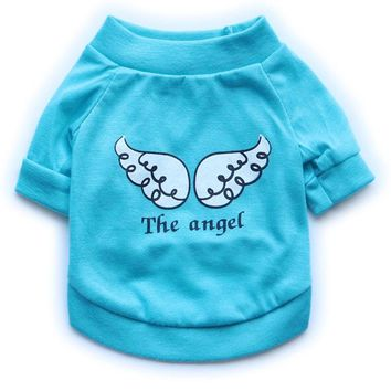 Pet Dog T Shirt Summer Clothes Cotton Puppy Vest Cute Pet Clothing The Angel Wing Pattern T-shirt Comfortable Clothes For Dog