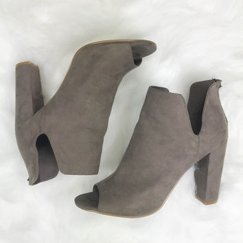 Impress Me Taupe Suede Open Toe Booties