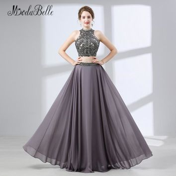 modabelle 2018 Prom Dress Two Pieces Long Beaded Sequin Top Chiffon Backless Teen Party Formal Long Dresses Evening Wear