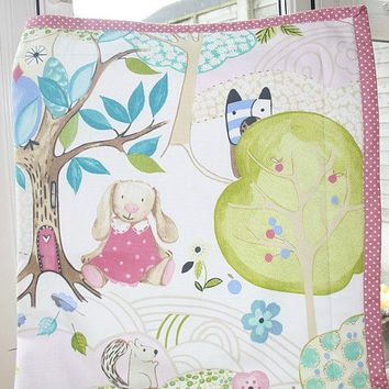 Baby Girl Quilt, Woodland Nursery Bedding, Baby Girl Bedding, Woodland Theme Nursery, Baby Cot Bedding, Pink Crib Quilt, Wholecloth Quilt