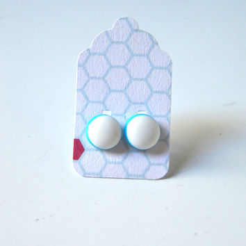 Stud Earrings - White and Robin's Egg Pale Blue Stud Earrings - Tiny Stud Earrings - Post Earrings - Colorful Earrings -  Enamel Studs