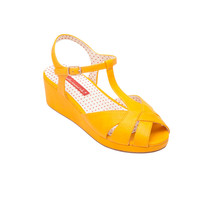 Kira T-Strap Mid Wedge Sandal In Yellow