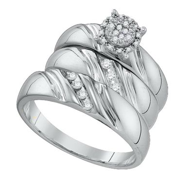 10k White Gold Round Diamond His & Hers Matching Trio Wedding Bridal Engagement Ring Band Set 1/5 Cttw
