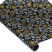 Silkscreened Nepalese Lokta Paper - FLORAL - Silver and Gold on Black