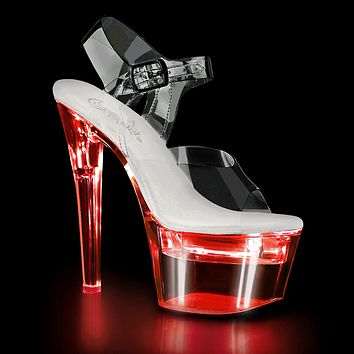 "Flash Dance 708 Clear PVC Upper LED Lighted Platform - 7"" Heel"