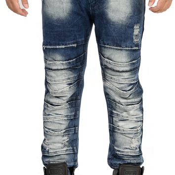 Distressed Stacked Jeans in Royal Blue